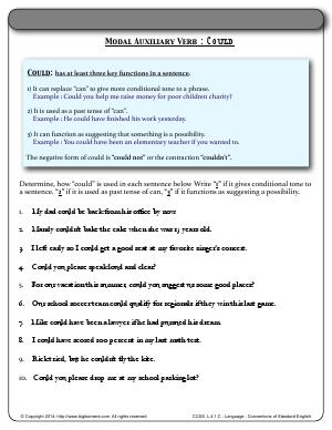 Preview image for worksheet with title Modal Auxiliary Verb : Could