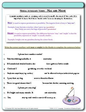 Preview image for worksheet with title Modal Auxiliary Verbs : May and Might