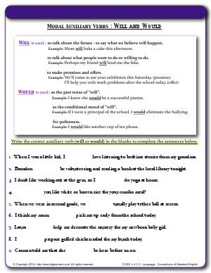 Preview image for worksheet with title Modal Auxiliary Verbs : Will and Would