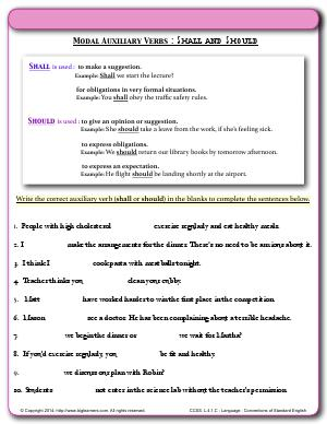 Preview image for worksheet with title Modal Auxiliary Verbs : Shall and Should