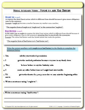 Preview image for worksheet with title Modal Auxiliary Verbs : Ought to and Had Better