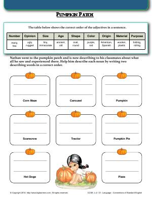 Preview image for worksheet with title Pumpkin Patch