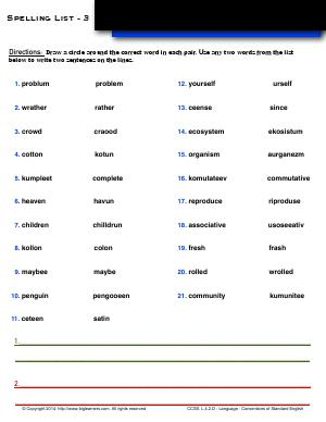 Preview image for worksheet with title Spelling List - 3