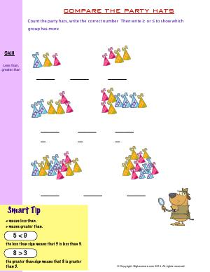 Preview image for worksheet with title Compare the Party Hats