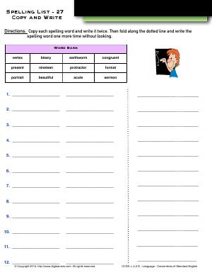 Preview image for worksheet with title Spelling List - 27 : Copy and Write