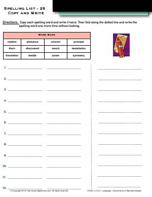 Preview image for worksheet with title Spelling List - 28: Copy and Write