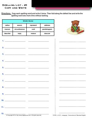 Preview image for worksheet with title Spelling List - 29 : Copy and Write