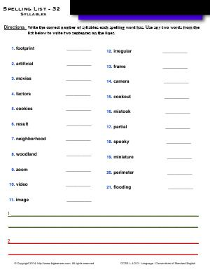 Preview image for worksheet with title Spelling List - 32 : Syllables