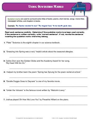Preview image for worksheet with title Using Quotation Marks
