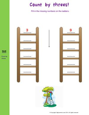 Preview image for worksheet with title Count by three's!