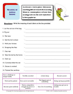 Preview image for worksheet with title Meaning of Animal Idioms