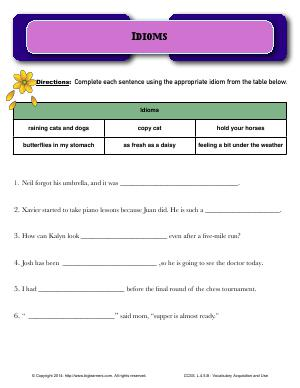 Preview image for worksheet with title Idioms
