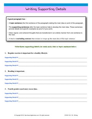 Preview image for worksheet with title Writing Supporting Details