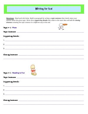Preview image for worksheet with title Writing For Fun!