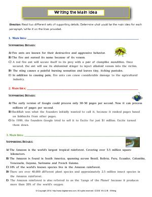 Preview image for worksheet with title Writing the Main Idea