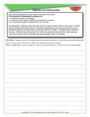 Preview image for worksheet with title Writing an Explanation
