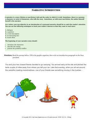 Preview image for worksheet with title Narrative Introduction