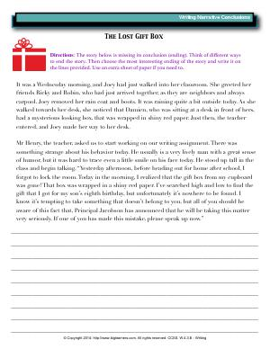 Preview image for worksheet with title The Lost Gift Box