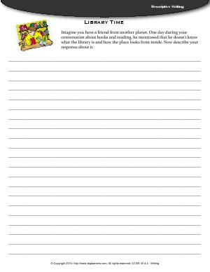 Preview image for worksheet with title Library Time (Descriptive Writing)