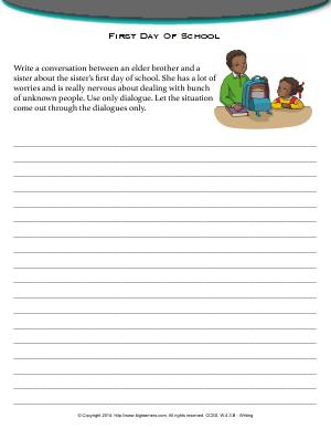 Preview image for worksheet with title First Day Of School
