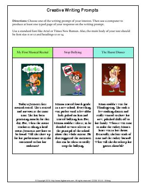 Preview image for worksheet with title Creative Writing Prompts