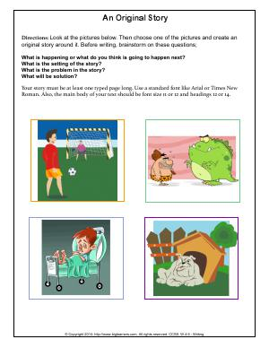 Preview image for worksheet with title An Original Story
