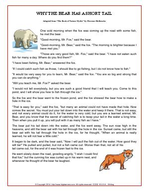 Preview image for worksheet with title Why the Bear has a Short Tail