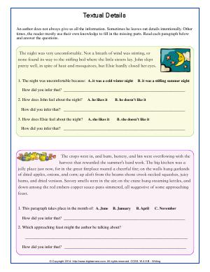 Preview image for worksheet with title Textual Details