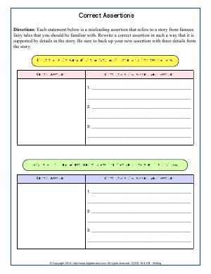 Preview image for worksheet with title Correct Assertions
