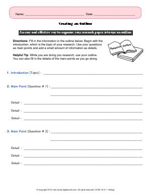 Preview image for worksheet with title Creating an Outline