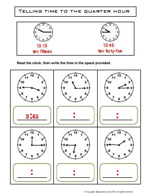 Preview image for worksheet with title Telling Time to the Quarter Hour