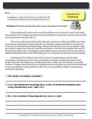 Preview image for worksheet with title Comprehension: Summarize