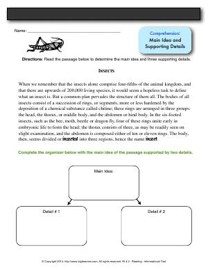Preview image for worksheet with title Comprehension: Main Idea and Supporting Details