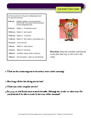 Preview image for worksheet with title Cub Scout's Day Camp