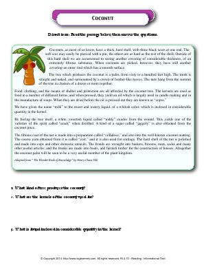 Preview image for worksheet with title Coconut