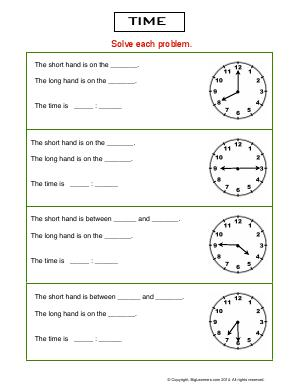 Preview image for worksheet with title Time