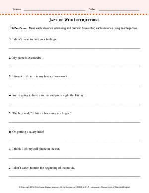 Preview image for worksheet with title Jazz up With Interjections
