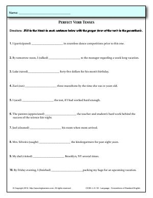 Preview image for worksheet with title Perfect Verb Tenses