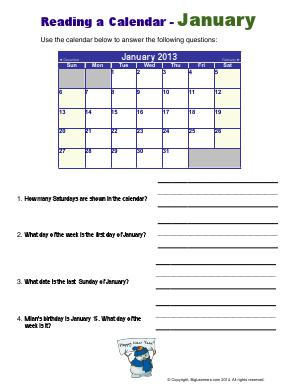 Preview image for worksheet with title Reading a Calendar - January