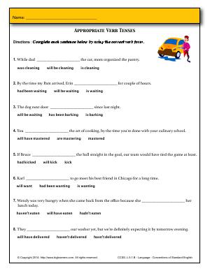 Preview image for worksheet with title Appropriate Verb Tenses