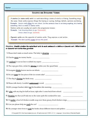 Preview image for worksheet with title Stative or Dynamic Verbs