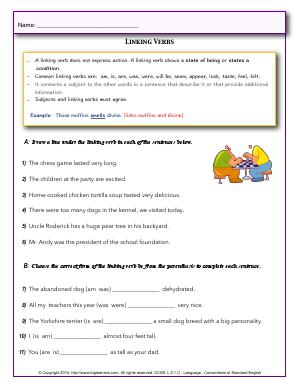 Preview image for worksheet with title Linking Verbs