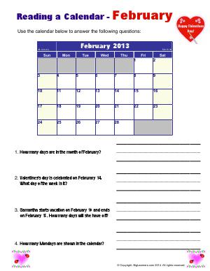 Preview image for worksheet with title Reading a Calendar - February