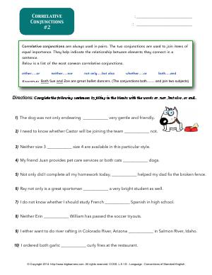 Preview image for worksheet with title Correlative Conjunctions #2
