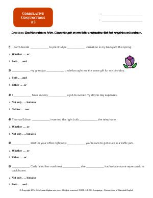 Preview image for worksheet with title Correlative Conjunctions #3