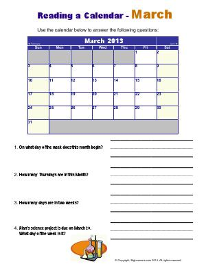 Preview image for worksheet with title Reading a Calendar - March
