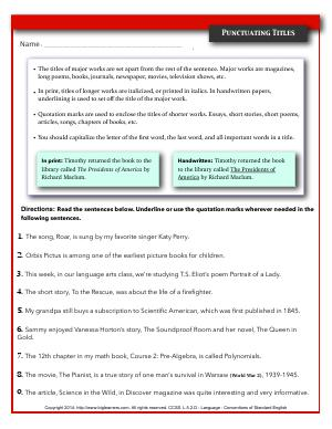 Preview image for worksheet with title Punctuating Titles