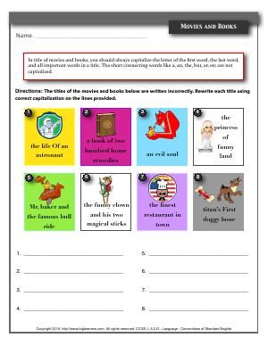 Preview image for worksheet with title Movies and Books
