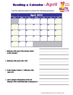 Preview image for worksheet with title Reading a Calendar - April