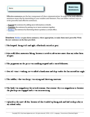 Preview image for worksheet with title Reducing Sentences